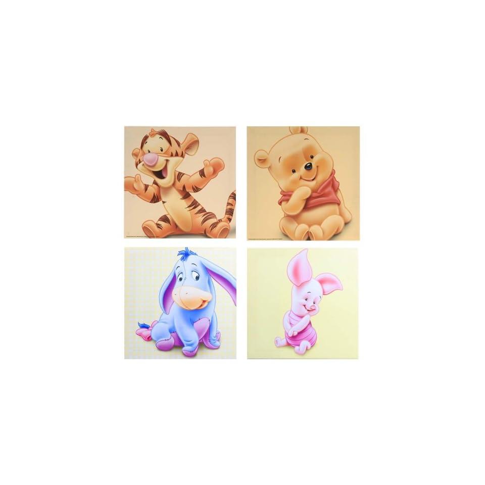 4er set bilder kinderzimmer leinwand winnie pooh und seine for Bilder set kinderzimmer