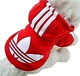 (Kiitos) 秋 冬 小型 中型 ワンちゃん の 服 あったか 裏起毛 スポーツ タイプ 犬 カジュアル パーカー レッド S