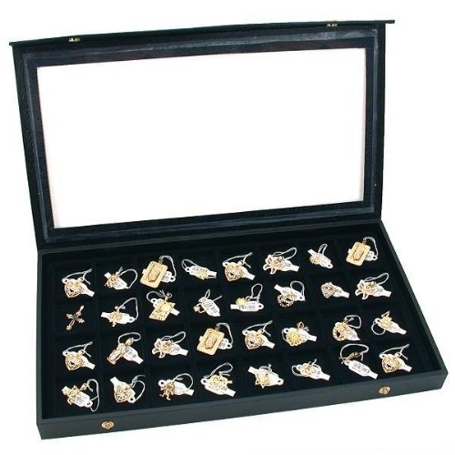 32 Earring Jewelry Display Case Clear Top Black