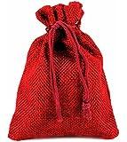 24 x Jutesäckchen XMAS rot, Jutesack Adventskalender Jute Säckchen Jutebeutel Beutel Sack Nikolaussäckchen Nikolaussack Weihnachtsmann Advent Beutel Weihnachtsmannsack Stoffbeutel Stoffsäckchen Stoff Adventskalender