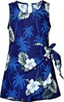 Pacific Legend Girls White Hibiscus Monstera Sarong Dress Navy Blue 8