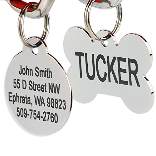 Stainless Steel Pet Id Tags: Bone, Round, Heart, Flower, Shield, House, Star, Rectangle, and Bow Tie. Includes up to 8 Lines of Customized Text - Front and Back Engraving. (Double Sided Dog Id Tag compare prices)
