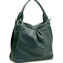Designer Inspired Synthetic Leather Soft hobo bag trimed with shiny croco - Dark Green
