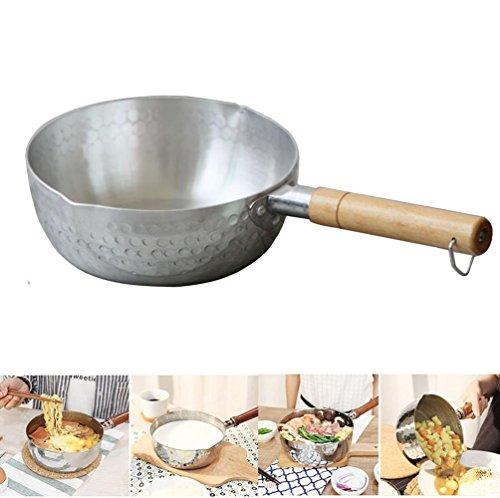 IBEET Saucepan With Pour Spout - 1 Quart Saucier Pan, Aluminum Non Stick Saucepan,Cooking Pot Wood Handle,2 Pour Spouts,Chocolate Melting Pots - Perfect for Kitchen, Kitchenware, Baking, Cooking