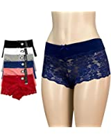 6pk Women's Cotton Spandex Hipster Boyshort Lace Trim Underwear Panties Sheer