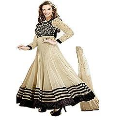 Prachi Silk Mills Women`s Georgette Embroidered Semi-stitched Salwar Suit Dupatta Material(Beige Evlyn)