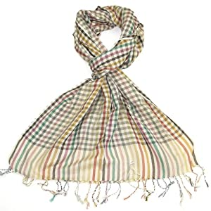 Khaki Checked Scarf for Men & Women  Colourful long unisex check scarf
