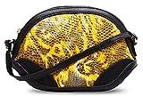 SaiErLong® Womens Dumplings Bag With Handle Yellow Genuine Leather Clutch Purse Wallets Shoulder Bag