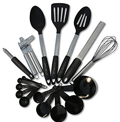 Kitchen Utensils and Gadgets 17 piece Silicone and Stainless Steel Cooking Tools Set - Cooks Essentials Cookware