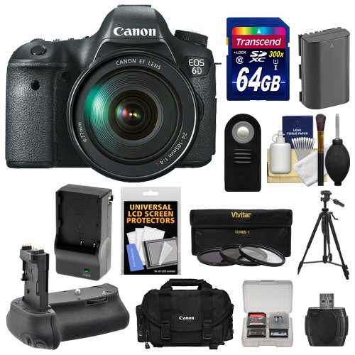 Canon Eos 6D Digital Slr Camera Body With Ef 24-105Mm L Is Usm Lens With 64Gb Card + Case + Battery & Charger + Battery Grip + Tripod + 3 Uv/Nd8/Cpl Filters Kit