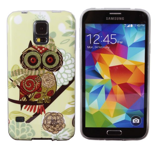 Teenitor(Tm) Stylish Bling Cute Big Eye Owl Tpu Protective Case For Samsung Galaxy S5,With Screen Protector, Stylus, Earphone Cable Organizer (Shipping From Usa)