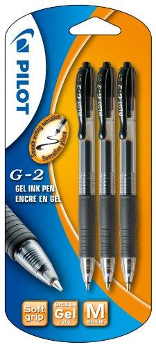 Pilot G2 - Bolígrafo roller retractable (tinta de gel, 3 unidades), color negro