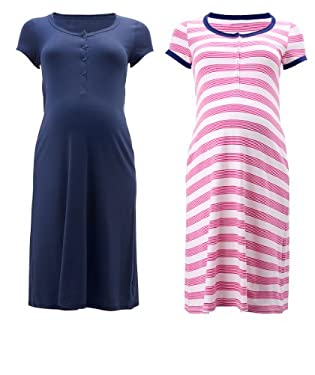 Maternity 2 Pack Short Sleeve T-Shirt Nightdress - Navy/Pink
