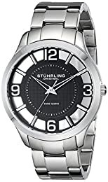 Stuhrling Original Classic Winchester Court Men's Quartz Watch with Black Dial Analogue Display and Silver Stainless Steel Bracelet 754.02