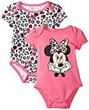 Disney Baby Girls Minnie Mouse 2 Pack Bodysuit-Fun Print, Pink, 0-3 Months
