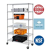 "76""(H) x 48""(L) x 18""(D) Chrome Commercial Heavy Duty 6 Layer/Tire Storage Rack Shelf Adjustable Steel Wire Metal Shelving Rack 3600 LBS Capacity"