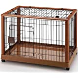 Richell Wood Mobile Pet Pen 940, Autumn Matte Finish