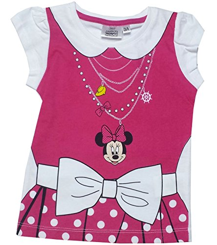 Disney Girls Minnie Mouse Costume Printed T-Shirt Top Age 3,4,6,8 Years