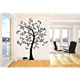 Large Tree and Cat Wall Decal Stickers Decoration Decorative Living Room Mural Vinyl 135cm Wide X 183cm High Black Color