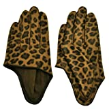 Nava Women's Sexy Leopard Print Half Palm Leather Gloves M Sand