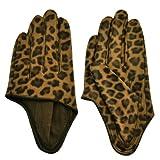 Nava Women's Sexy Leopard Print Half Palm Leather Gloves M Sand
