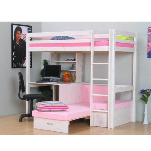 hochbett 90x200 kiefer massiv bett kinderbett gstebett schreibtisch. Black Bedroom Furniture Sets. Home Design Ideas