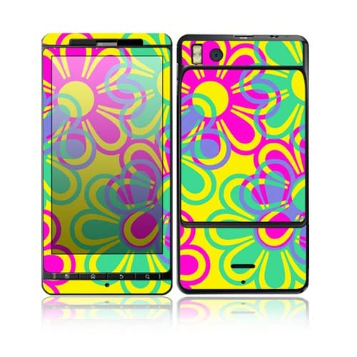 Retro Flowers Design Decorative Skin Cover Decal Sticker for Motorola Droid X2 Cell Phone