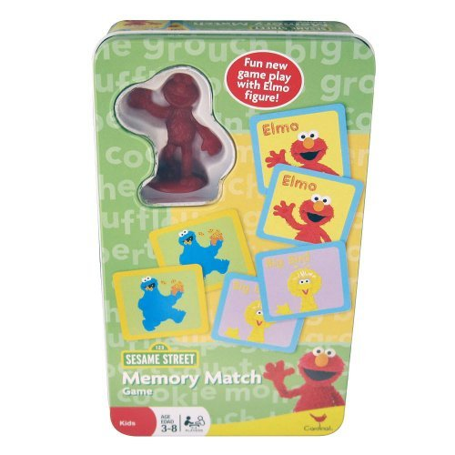 Sesame Street Memory Match Game Tin with Elmo Figure - 1