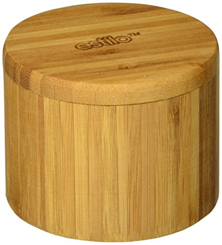 Estilo Single Round Salt or Spice Box with Lid, Bamboo (Salt Bamboo Container compare prices)