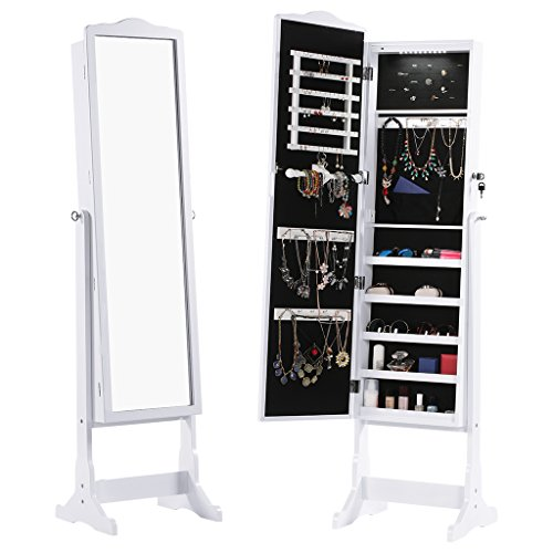 Armario Definicion Etimologica ~ LANGRIA Free Standing Lockable Jewelry Cabinet Full Length Mirrored Jewelry Armoire with 10 LED