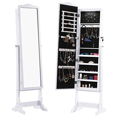 Langria free standing lockable jewelry cabinet full length - Appendi specchio ...