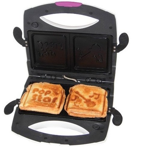 Funky Pop Star Non-Stick 800 watts Sandwich Maker & Panini Grill - Press with 2 Dishwasher Safe Interchangeable Plates,