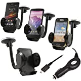 ITALKonline (CARKIT PACK) In Car Windscreen Mount Suction Holder and In Car 12/24V Car Charger for In Car Universal Suction Mount Holder & Car Charger For LG P920 Optimus 3D