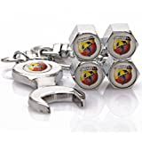 Fiat Abarth Tire Valve Caps with Bonus Wrench Keychain(BW)