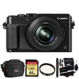 Panasonic LUMIX LX100 16.8 MP Four Thirds CMOS sensor Point and Shoot Camera with Integrated Leica DC Lens (Black) + Transcend 64GB SDXC U3 + Deluxe Bag + Polaroid 43mm UV Filter + Cleaning Kit
