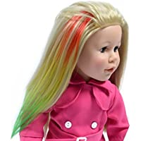 Rainbow Hair Extensions For 18 Inch Dolls And American Girl Dolls - Doll Wig Piece Multi Color