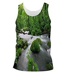 Snoogg White Water Mens Casual Beach Fitness Vests Tank Tops Sleeveless T shirts