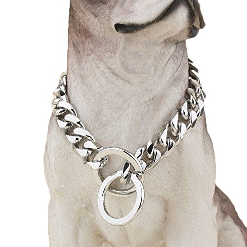 Ultra Strong Designer Pitbull Dog Collar - 20mm Wide Slip Chain Collar - 680 Lbs Strong! - Best for Pit Bull, Mastiff, Bulldog, & Big Breeds, 22