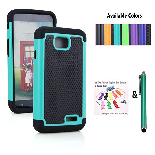 The Little Penguin Armor Defender Skin Case for LG Realm LS620 (Boost Mobile) / LG Optimus Exceed 2 W7 (Verizon) / LG Pulse LS620Y / LG Ultimate 2 L41C / LG Optimus L70 VS450 (Metro PCS) - Anti-shock and Bump Dual Layer Soft and Hard Case ** Easy to slide into your pocket ** + Stylus Pen + Fishbone Earphone Cord Organizer (Armor Pocket Case - Black and Teal) (The Little Penguin Inc compare prices)