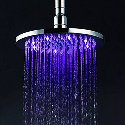 """12"""" Inch Temperature Control Colors Round Copper 12 Leds Fixed Rainfall Led Shower Head Silver"""
