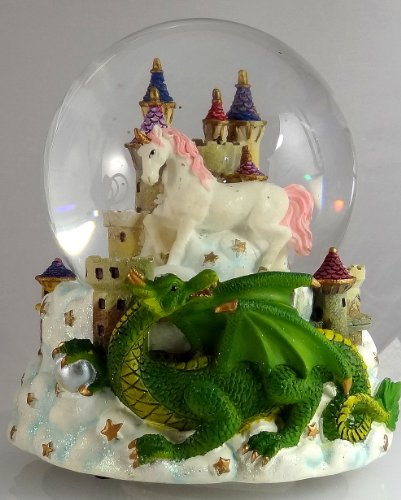 Green Dragon Clutching Crystal with Mystic White Unicorn and Castle in the Clouds Snow Globe - Sculptured Resin Water Ball Music Box 5 3/4