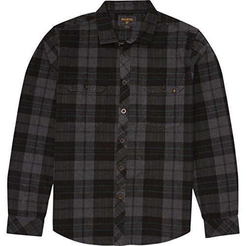 Billabong Men's Overdrive Long Sleeve Flannel, Charcoal, XX-Large