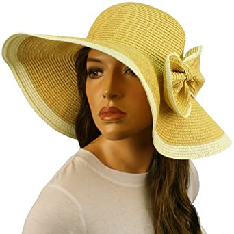 50+ UPF Ribbon Bow Beach Summer Braid Wide Brim Floppy Sun Hat Cap Natural 57cm