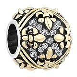 Q&Locket Fleur De Lis Charm Lily Flower Charms Beads For Bracelets (Style-1)