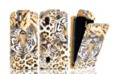 FOR NOKIA ASHA 300 MAGNETIC TOP FLIP LEATHER COVER CASE POUCH - PERFECT FIT (SAFARI TIGER)