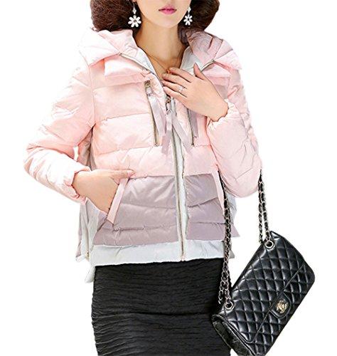 HENGDA Damen Daunenmantel Mantel Winter Daune Kurz Kontrase-Farbe Patchwork Steppjacke Kapuze Rosa S