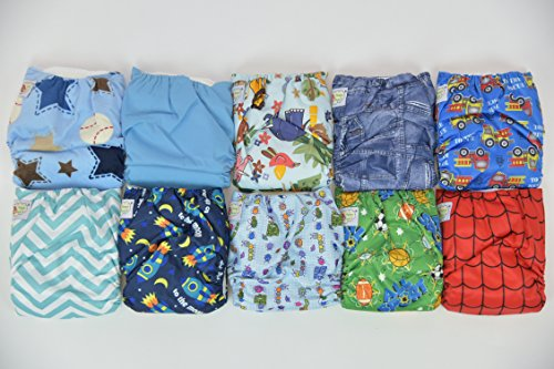 10 PACK POCKET CLOTH DIAPERS WITH 20 INSERTS (2 Inserts per diaper)-BOY PACK