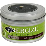 Blissoma Energize Aromatherapy Artisan Soy Candle 8 Oz With Natural Essential Oils No Synthetic Scent