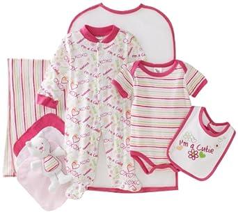 Cutie Pie Baby-girls Newborn Cutie 9 Piece Set In Garment Bag, Pink, 0-3 Months