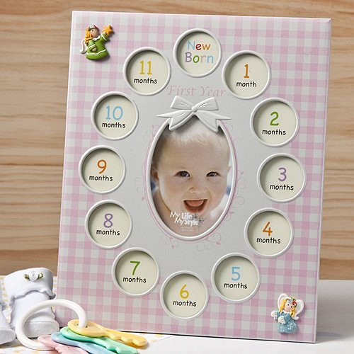BABY'S 1st YEAR Photo COLLAGE FRAME - 13 Pictures - GIFT KEEPSAKE - CHRISTENING (PINK - Girl) by FC - 1